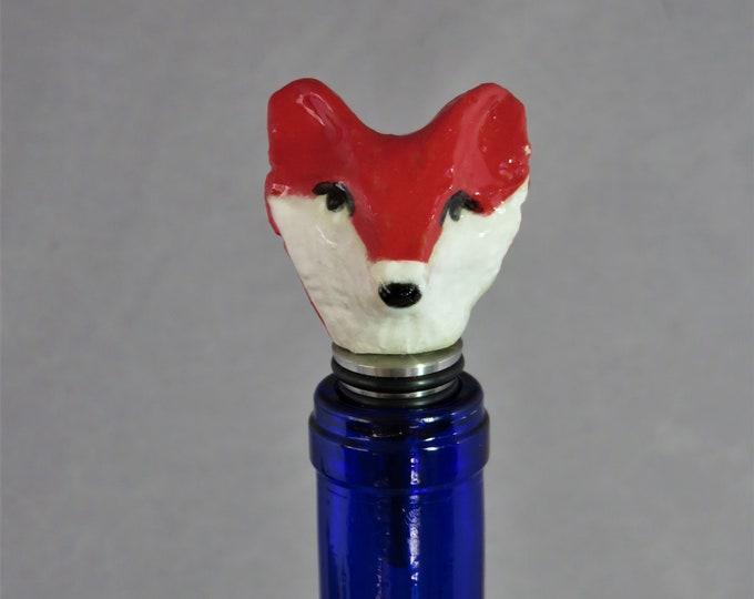 Ceramic Fox head  stainless steel bottle stopper  Artisan Made