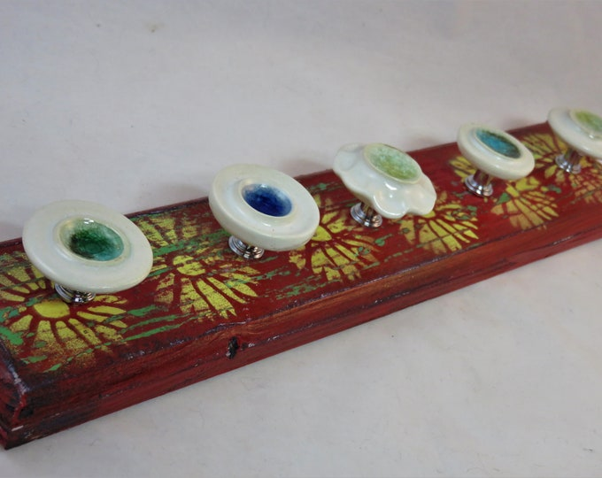 Artisan made jewelry red yellow green distressed daisy design and glass ceramic knobs SHIPPING INCLUDED