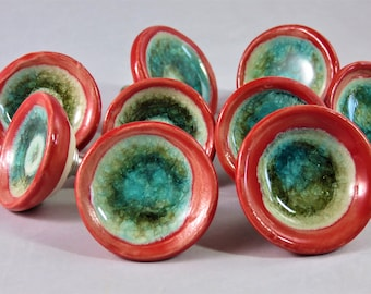 Turquiose glass and red  ceramic drawer pulls artisan made to order