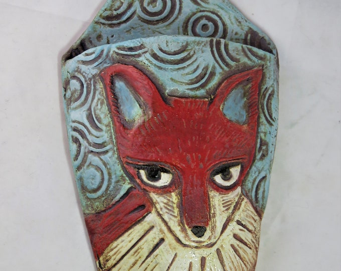Red fox and circles  ceramic wall pocket artisan hand made