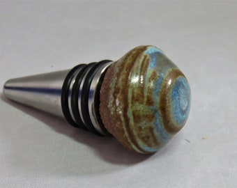 opal  ceramic and stainless steel bottle stopper  Artisan Made