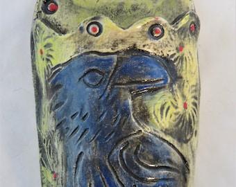 Indigo Crow ceramic wall pocket
