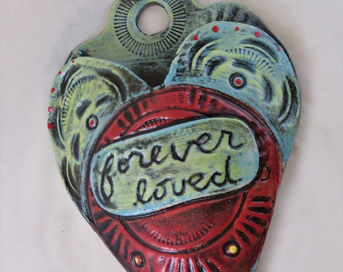 Endearment Artisan made ceramic wall pocket  red aqua blue teal rustic wall pocket forever loved