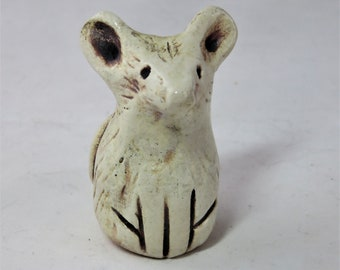 Tiny white mouse with big ears and a long tail  hand made ceramic sculpture