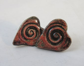 Red spiral hearts hand made ceramic drawer pulls