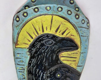 full moon Crow ceramic wall pocket artisan hand made