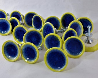 Cobalt Blue Glass and Yellow ceramic drawer pulls artisan made to order