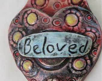 beloved endearment Artisan made ceramic wall pocket  yellow red blue pink rustic wall pocket -flowers
