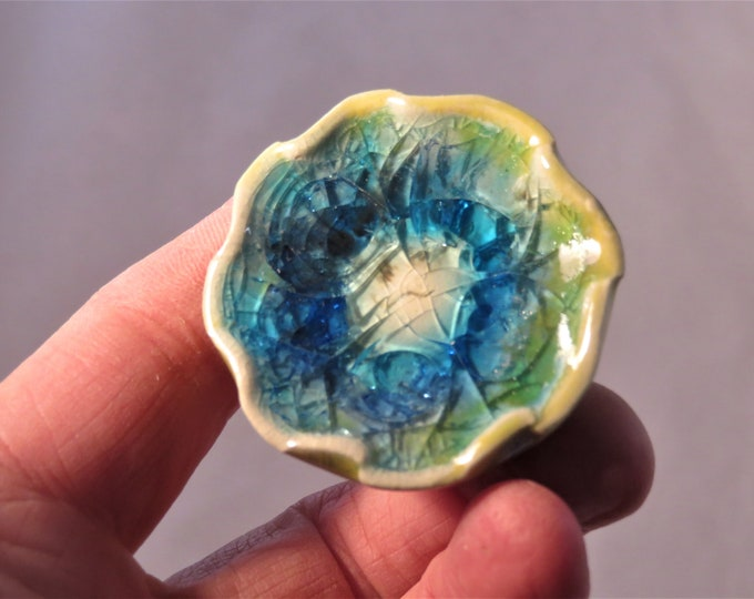 Teal and yellow flower ceramic, glass, and  stainless steel bottle stopper  Artisan Made