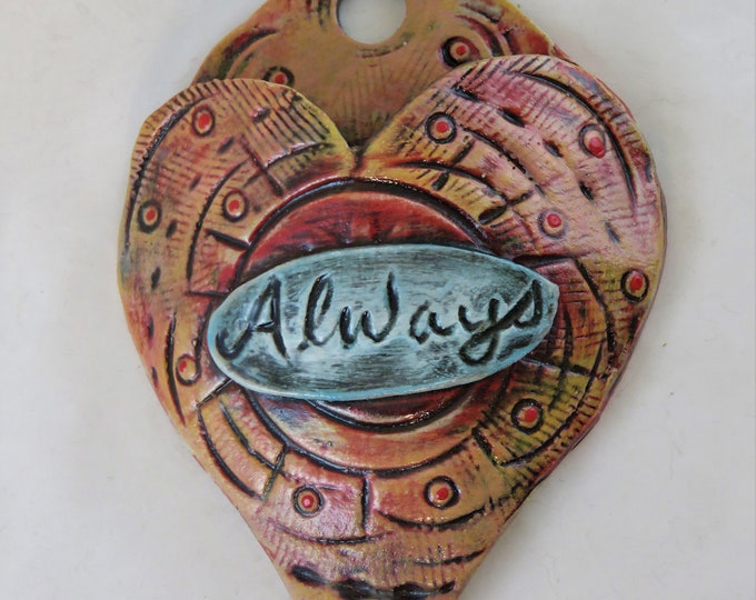 Always Artisan made ceramic wall pocket green yellow red blue rustic wall pocket