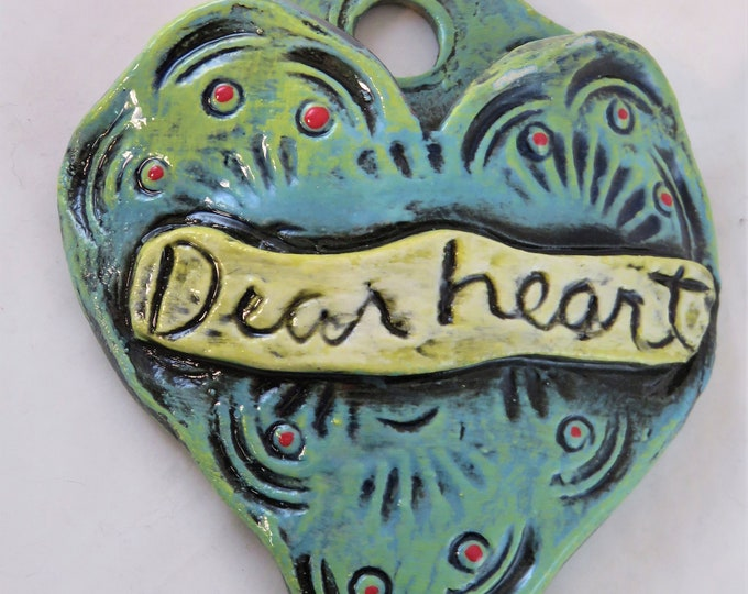 Dearheart Artisan made ceramic wall pocket aqua blue yellow and red rustic wall pocket