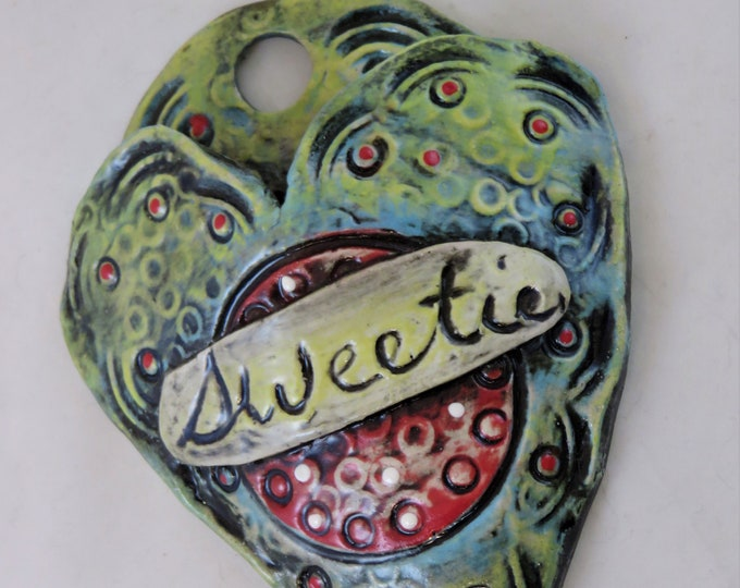 Endearment Artisan made ceramic wall pocket  yellow red aqua blue teal rustic wall pocket sweetie