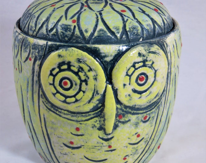 Owl Jar yellow and green hand made with wire handle