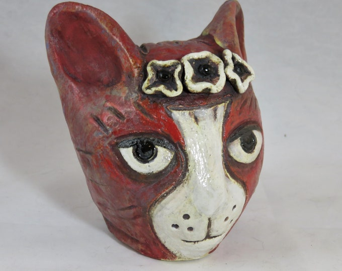 sweet red and white   ceramic kitty with flower crown  garden sculpture artisan made