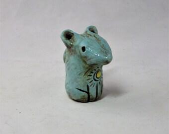 Tiny blue celestial mouse hand made ceramic sculpture