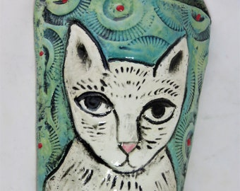 Whimsical white kitty ceramic wall pocket artisan hand made