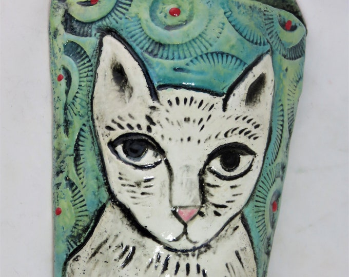 Whimsical white kitty ceramic wall pocket artisan hand made