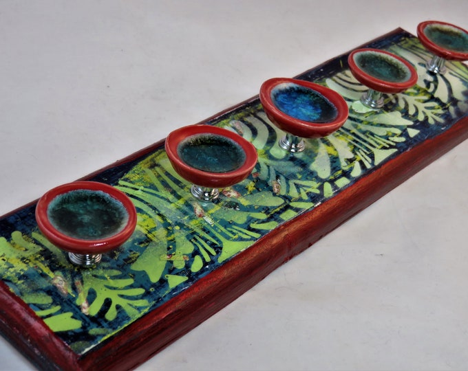 Artisan made jewelry hanger Teal yellow red distressed vintage design and glass ceramic knobs SHIPPING INCLUDED