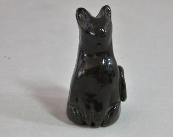 Tiny black kitty artisan made sculpture