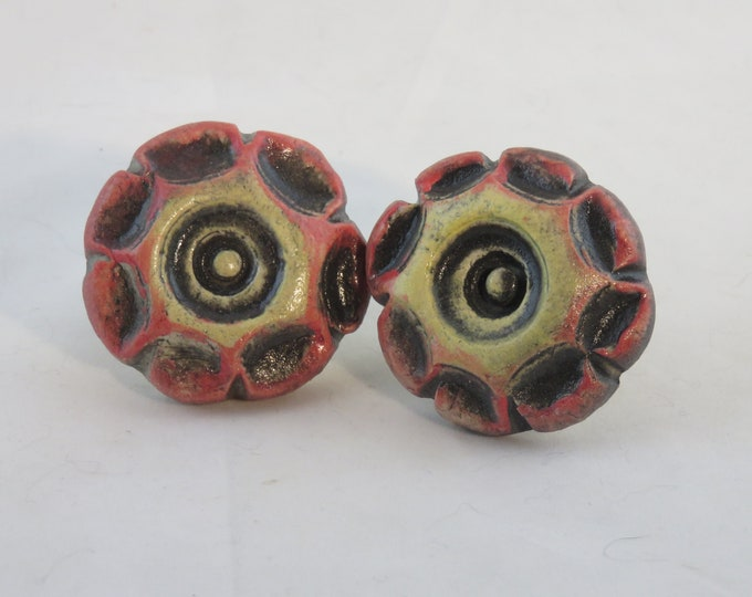 Red, yellow and black ceramic artisan made knobs made to order