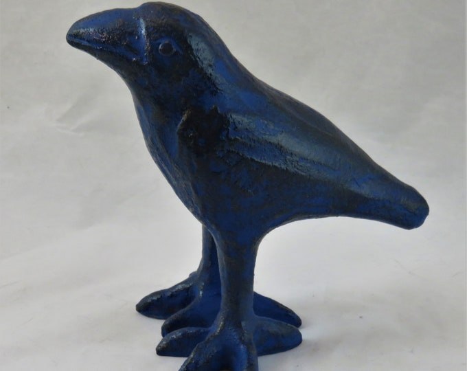 Ceramic baby crow indigo and black artisan made sculpture