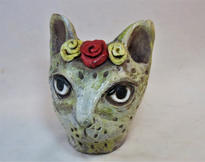 Whimsical white kitty with flower crown ceramic garden sculpture for stake artisan made SHIPPING INCLUDED