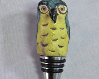 Ceramic owl sculpture stainless steel bottle stopper  Artisan Made