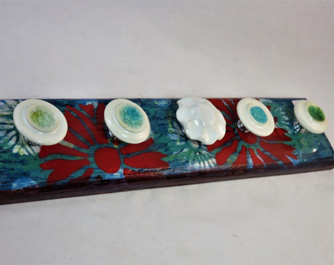 Artisan made jewelry hanger Teal white red distressed vintage design and glass ceramic knobs SHIPPING INCLUDED
