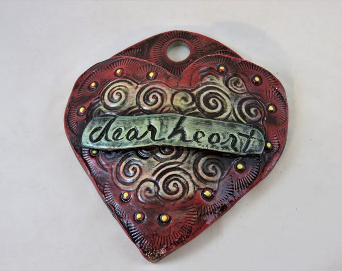 Endearment Artisan made ceramic wall pocket  yellow red green teal rustic wall pocket swirls dearheart