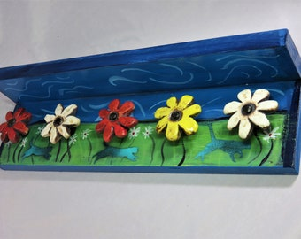 Whimsical kitties and daisies painted wooden jewelry holder shelf with ceramic knobs