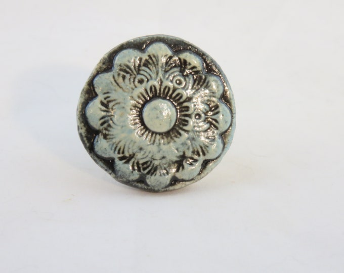 Vintage design ceramic drawer pull hand made