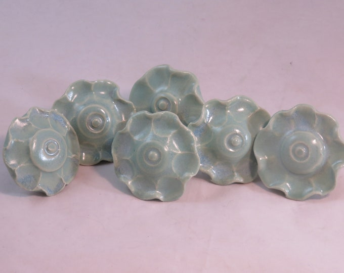 Seafoam and opal ceramic artisan made drawer pulls made to order SHIPPING INCLUDED