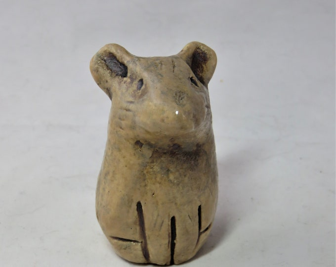 Tiny cinnamon mouse  hand made ceramic sculpture