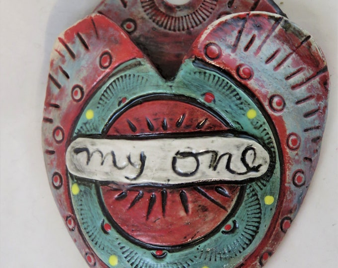 My One Artisan made ceramic wall pocket green yellow red blue rustic wall pocket