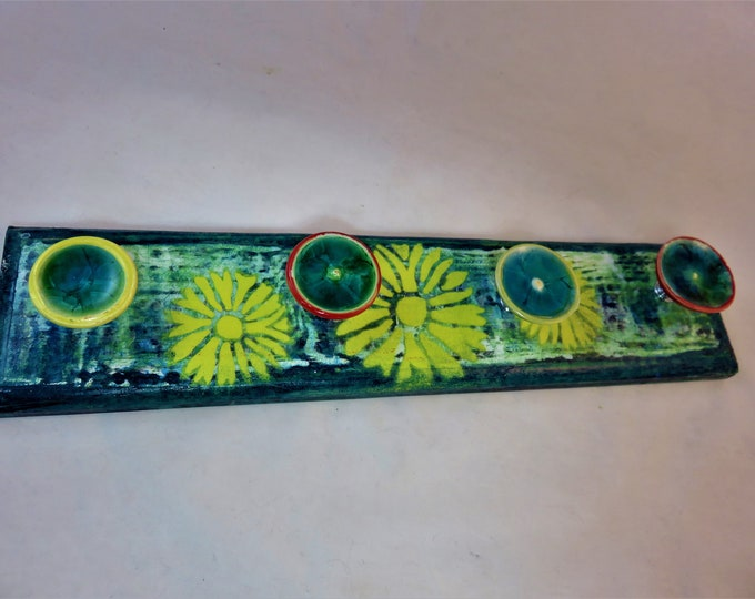 Artisan made jewelry hanger Teal yellow red distressed daisies and glass ceramic knobs SHIPPING INCLUDED