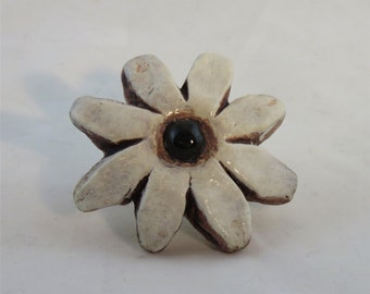 white Daisy ceramic artisan made knobs made to order