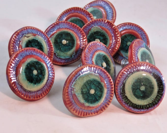 Fantastic Spheres Red Opal Teal ceramic and glass artisan made drawer pulls made to order SHIPPING INCLUDED