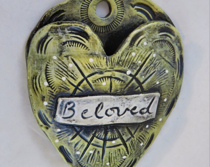 Beloved Endearment Artisan made ceramic wall pocket buttercup yellow rustic wall pocket