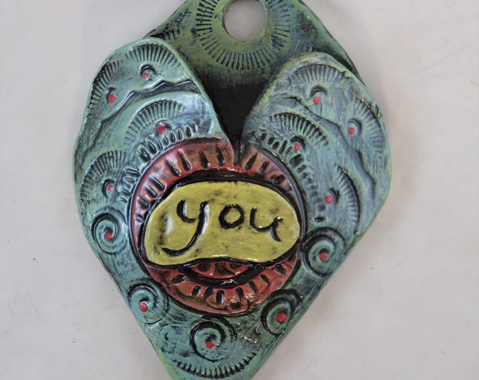 I heart you Artisan made ceramic wall pocket teal red and yellow rustic wall pocket endearment with spirals