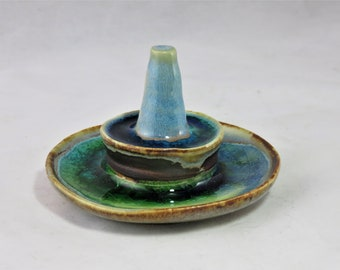 Double decker Opal blue brown and green glass and ceramic ring bracelet holder artisan made