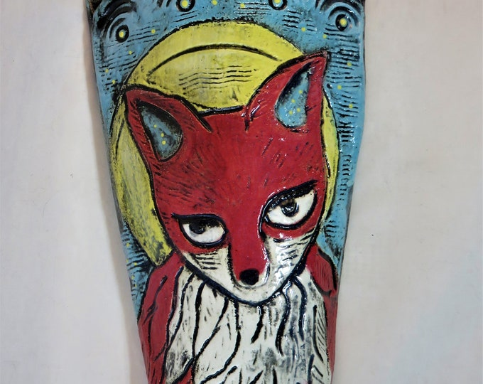Whimsical full moon fox artisan made ceramic wall pocket SHIPPING INCLUDED
