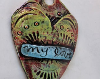 Endearment Artisan made ceramic wall pocket  yellow red blue rustic wall pocket my love