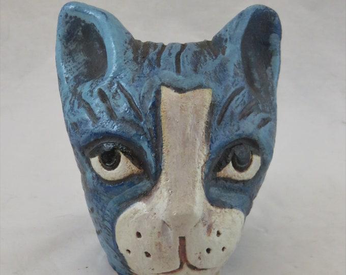 Sweet blue tabby kitty  ceramic garden sculpture artisan made