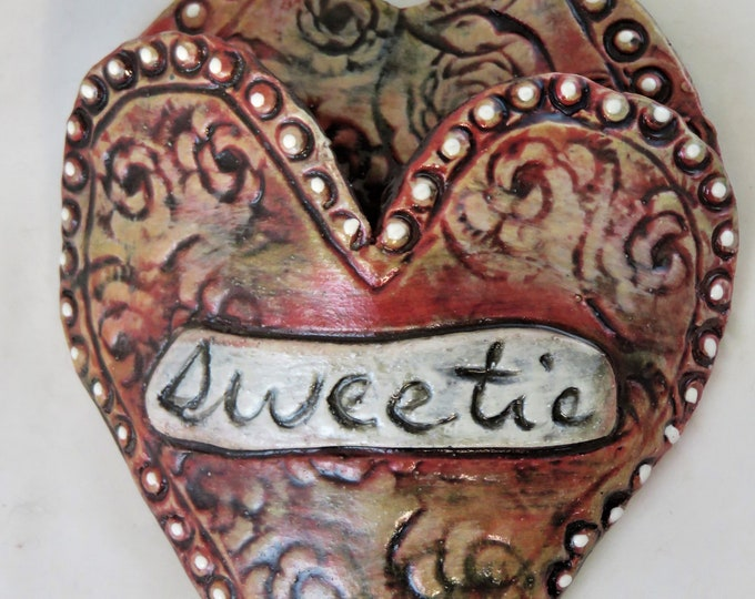 Sweetie Artisan made ceramic wall pocket green yellow red blue rustic wall pocket