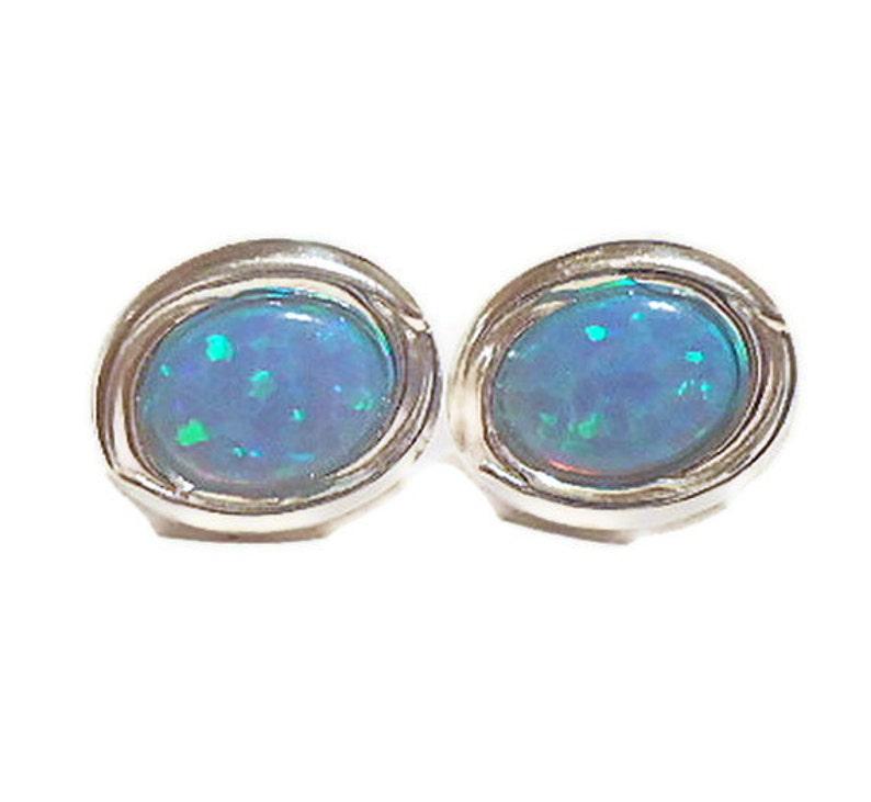 85c2da159bbcc Blue opal earrings, sterling silver ear studs, opal earrings, opal jewelry,  gift for her, christmas gift, holiday gift, silver opal