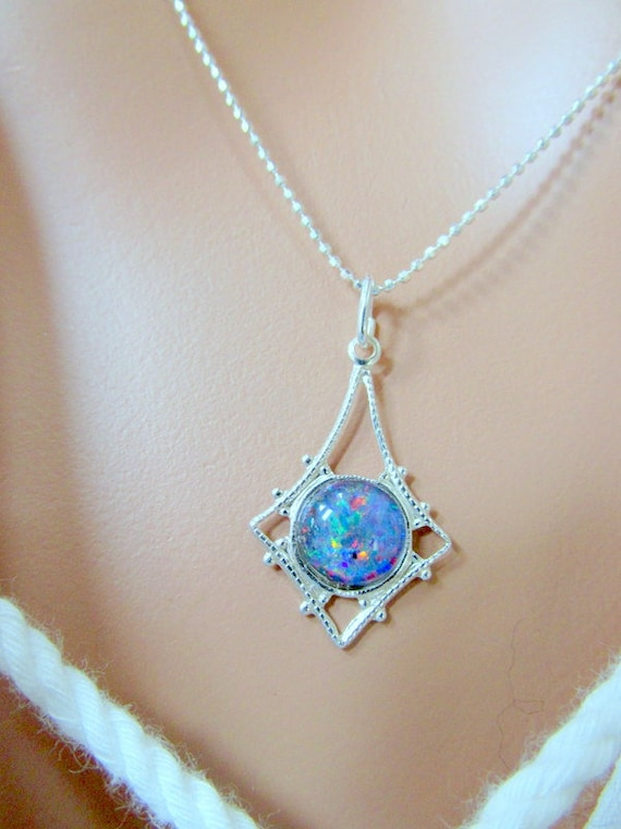 Personalized With 40 Characters Sterling Silver Blue and White Opal Necklace for Women Organic Gemstone Pendant Design *