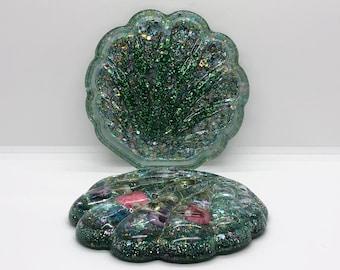 Floral Glittery Seashell Jewelry Box