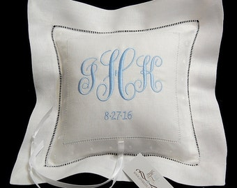 Personalized ring bearer pillow Irish linen with monogram Something blue jfyBride Style 6142
