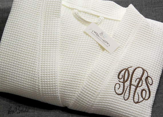 61c466a886 Monogrammed waffle weave bathrobe Personalized robe Cotton