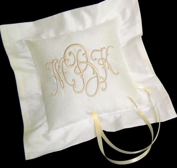 Monogram Wedding Ring Bearer Pillow: Small Silk Ring Bearer Pillow Wedding Ring Pillow Monogram